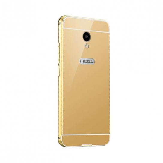 Металлический бампер с акриловой вставкой с зеркальным покрытием для Meizu M5s Gold