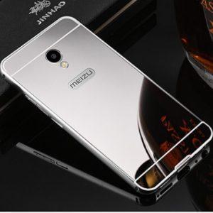 Металлический бампер с акриловой вставкой с зеркальным покрытием для Meizu M5s (Серебряный / Silver)