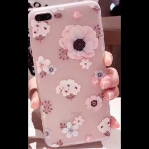 """TPU чехол матовый soft touch для Apple iPhone 7 plus / 8 plus (5.5"""") Цветы Розовый"""