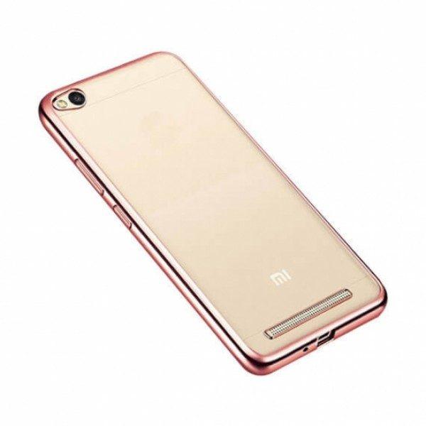 Защитный  прозрачный силиконовый чехол с глянцевым розовым ободком для Xiaomi Redmi 4A