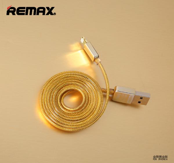 Дата кабель Remax Gold lightning для Apple iPhone 5/5s/5c/SE/6/6 Plus/6s/6s Plus /7/7 Plus 1m (Gold)