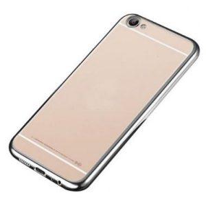 Защитный силиконовый прозрачный чехол с глянцевым серебряным ободком для Meizu U10