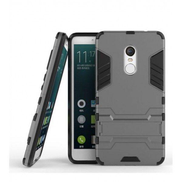 Ударопрочный чехол-подставка Transformer для Redmi Note 4X / Note 4 (SD) с мощной защитой корпуса Серый / Metal slate
