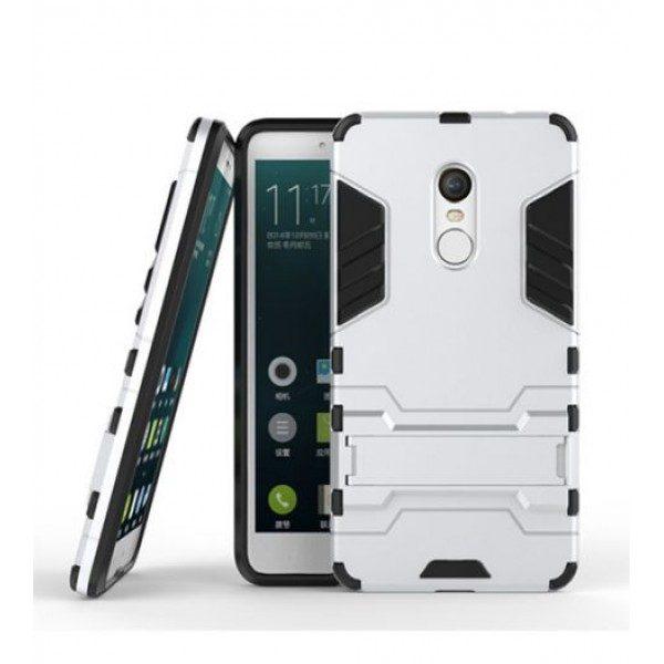 Ударопрочный чехол-подставка Transformer для Redmi Note 4X / Note 4 (SD) с мощной защитой корпуса Серебряный / Satin Silver