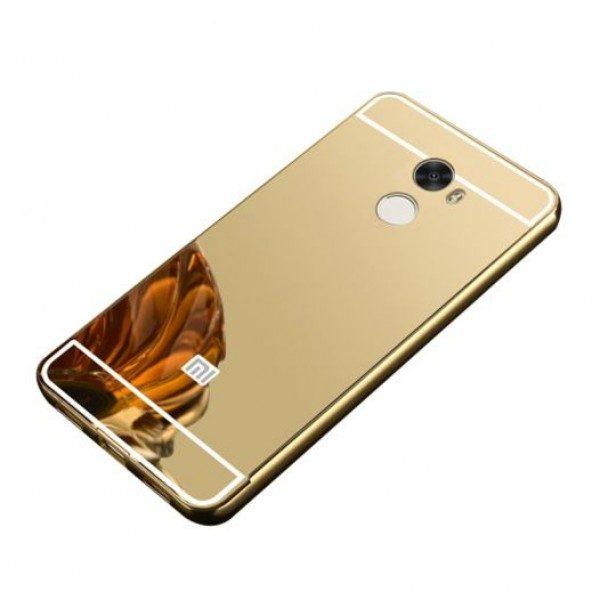 Металлический бампер с акриловой вставкой с зеркальным покрытием для Xiaomi Redmi 4 (Gold)