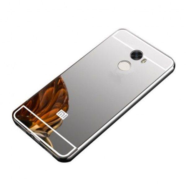 Металлический бампер с акриловой вставкой с зеркальным покрытием для Xiaomi Redmi 4 (Silver)