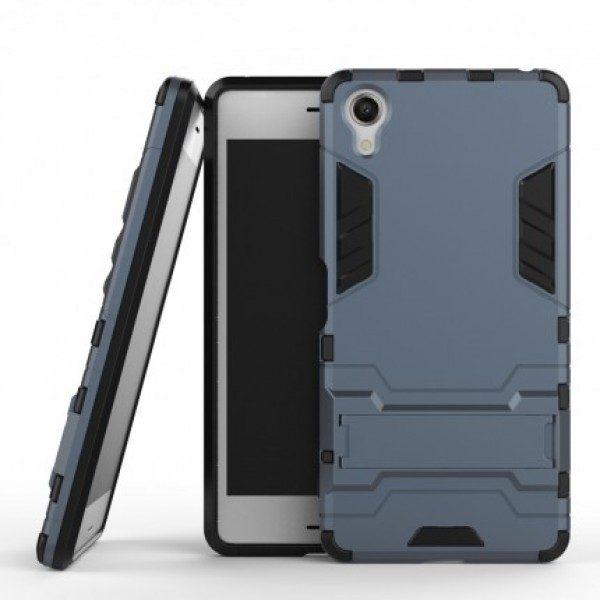 Ударопрочный чехол-подставка Transformer для Sony Xperia XA / XA Dual с мощной защитой корпуса Серый / Metal slate