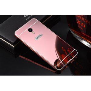Металлический бампер с акриловой вставкой с зеркальным покрытием для Meizu M5s (Розовый / Pink)