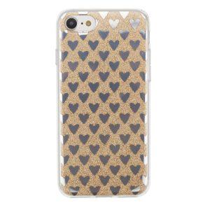 """Cияющий TPU чехол с сердечками для Apple iPhone 7 / 8 (4.7"""") Gold"""