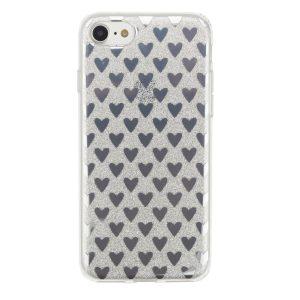 "Cияющий TPU чехол с сердечками для Apple iPhone 7 / 8 (4.7"") Silver"