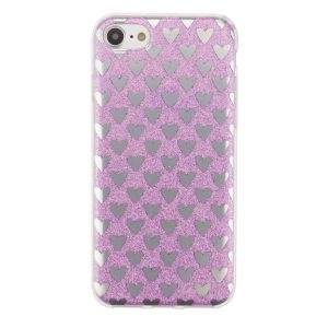"Cияющий TPU чехол с сердечками для Apple iPhone 7 / 8 (4.7"") Violet"