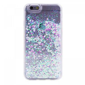 TPU чехол Liquid hearts для Apple iPhone 6/6s (Розовый / Зеленый)