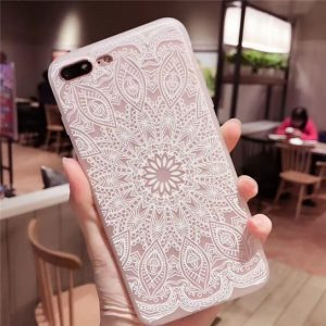 "TPU чехол матовый soft touch для Apple iPhone 7 plus / 8 plus (5.5"") Белый узор"