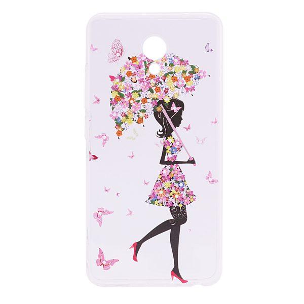 Прозрачный силиконовый (TPU) чехол (накладка) с принтом Cute Print для Meizu M5 (Umbrella)