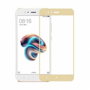 Цветное защитное стекло 2.5d full cover (на весь экран)  для Xiaomi Mi 5x / Mi A1 (Gold)