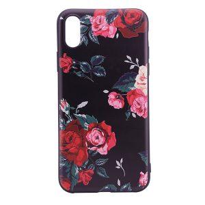 """TPU чехол OMEVE Pictures для Apple iPhone X (5.8"""") Красные розы (черный фон)"""