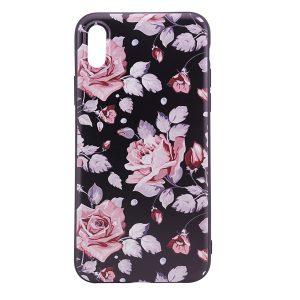 """TPU чехол OMEVE Pictures для Apple iPhone X (5.8"""") Розовые розы (черный фон)"""