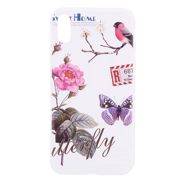 "TPU чехол OMEVE Pictures для Apple iPhone X (5.8"") Цветы и птичка"