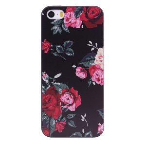 TPU чехол OMEVE Pictures для Apple iPhone 5/5S/SE Красные розы (черный фон)