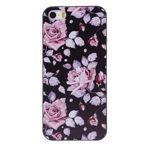 TPU чехол OMEVE Pictures для Apple iPhone 5/5S/SE Розовые розы (черный фон)