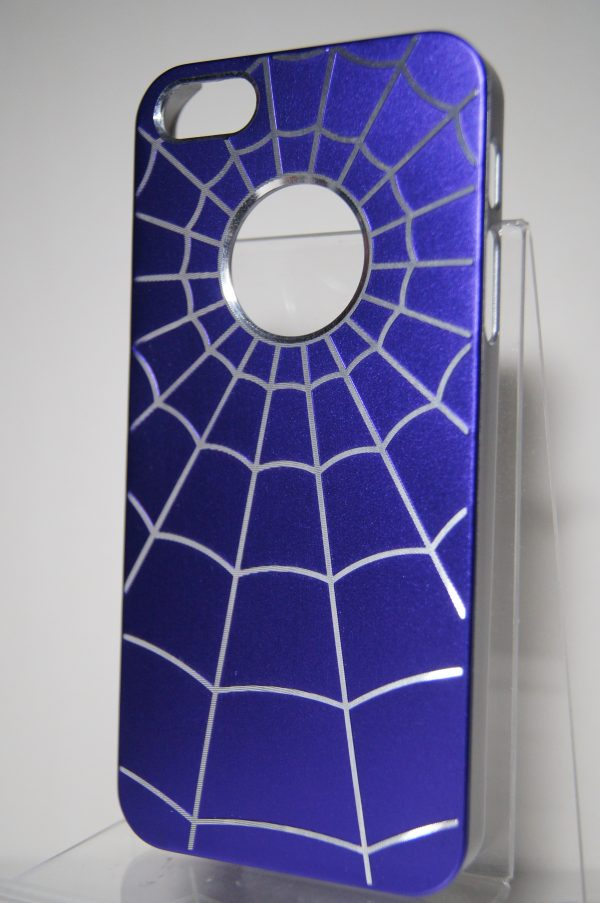 Защитный пластиковый  фиолетовый чехол с серебряной паутиной  для Iphone 5/5c/5s/SE
