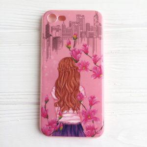 """TPU чехол Magic Girl со стразами для Apple iPhone 7 / 8 (4.7"""") (Розовый / Сакура)"""