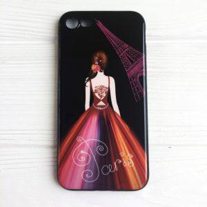 "TPU чехол Magic Girl со стразами для Apple iPhone 7 / 8 (4.7"") (Черный / Париж)"