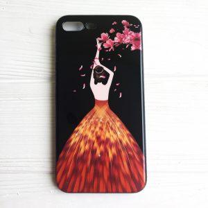 "TPU чехол Magic Girl со стразами для Apple iPhone 7 plus / 8 plus (5.5"") Черный / Лепестки"