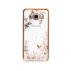 Прозрачный чехол с цветами и стразами для Samsung J510F Galaxy J5 (2016) с глянцевым бампером Золотой/Розовые цветы