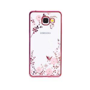 Прозрачный чехол с цветами и стразами для Samsung A510F Galaxy A5 (2016) с глянцевым бампером (Розовый золотой/Розовые цветы)