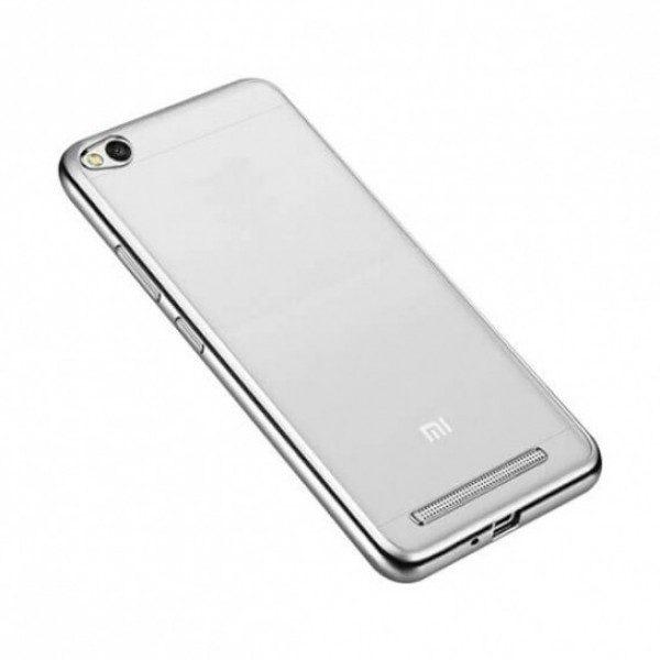 Защитный  прозрачный силиконовый чехол с глянцевым серебряным ободком для Xiaomi Redmi 4A