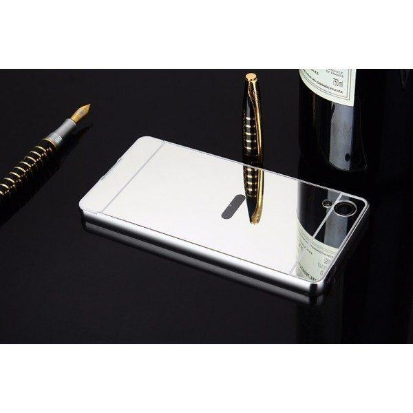 Металлический бампер с акриловой вставкой с зеркальным покрытием для Sony Xperia XA / XA Dual (Серебряный)