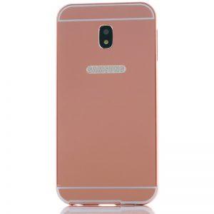 Металлический бампер с акриловой вставкой с зеркальным покрытием для Samsung J730 Galaxy J7 (2017) Розовый
