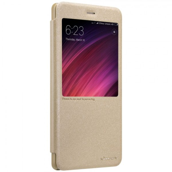 Кожаный чехол (книжка) Nillkin Sparkle Series для Xiaomi Redmi Note 4X (Gold)