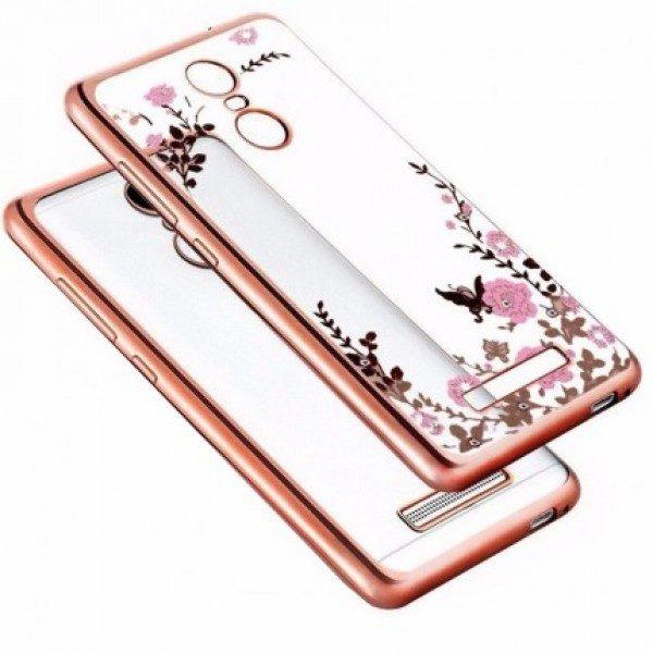 Прозрачный чехол с цветами и стразами для Xiaomi Redmi Note 3 / Note 3 Pro с глянцевым бампером (Розовый/Розовые цветы)