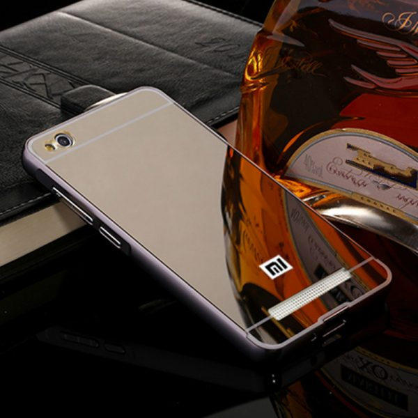 Металлический зеркальный серый бампер с акриловой вставкой  для Xiaomi Redmi 4A