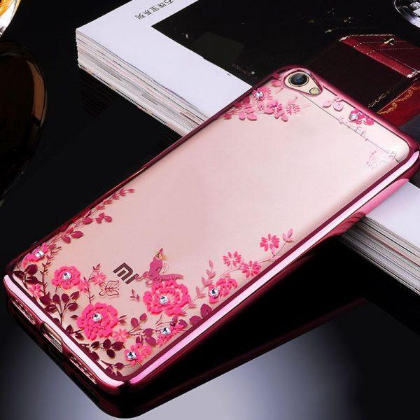 Прозрачный чехол с цветами и стразами для Xiaomi Redmi 5A с глянцевым бампером (Розовый золотой/Розовые цветы)