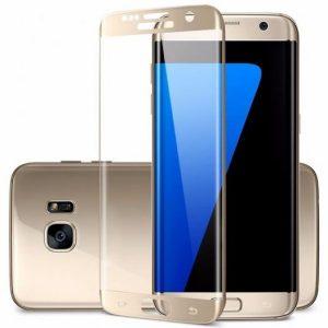 Цветное защитное 3D стекло (на весь экран) для Samsung G935F Galaxy S7 Edge с закругленными краями (Gold)
