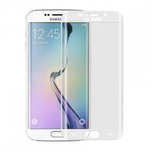 Цветное защитное 3D стекло на весь экран для Samsung G935F Galaxy S7 Edge с закругленными краями (White)