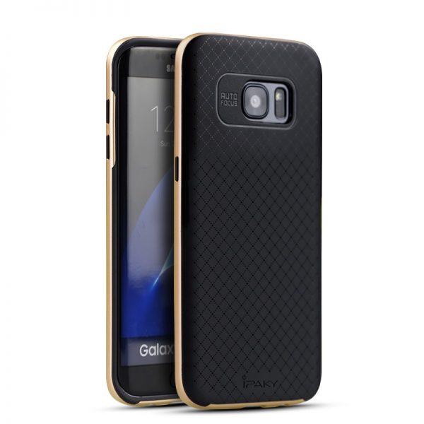 Фирменный чехол iPaky original TPU + PC черно – золотой  для Samsung G930F Galaxy S7