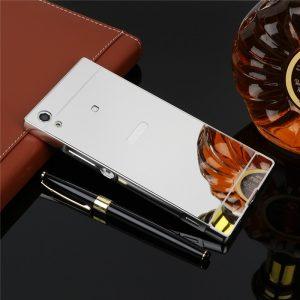 Металлический бампер с акриловой вставкой с зеркальным покрытием для Sony Xperia XA1 / XA1 Dual (Серебряный)