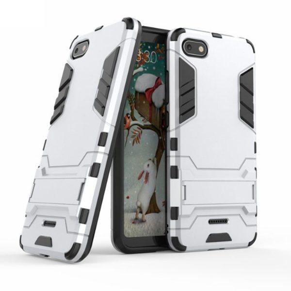Ударопрочный чехол-подставка Transformer для Xiaomi Redmi 6A с мощной защитой корпуса (Silver)