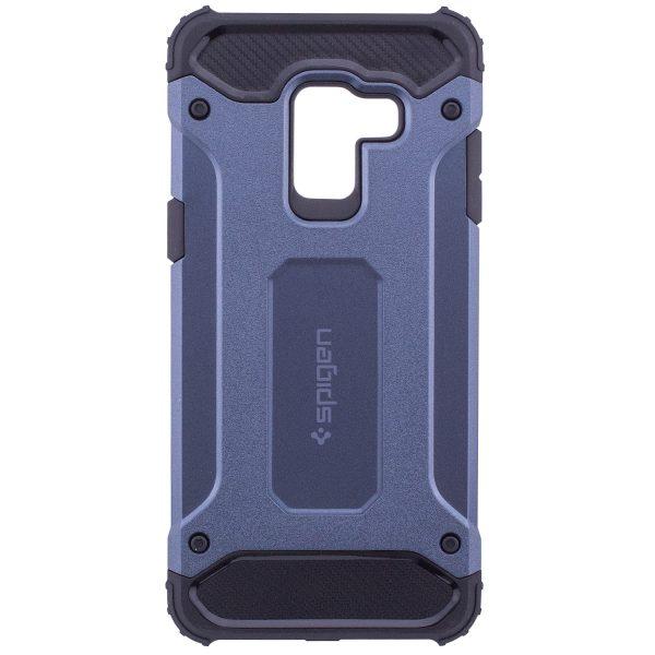 Темно-синий бронированный противоударный TPU+PC чехол SPIGEN (HC) для Samsung A530 Galaxy A8 (2018) Navy Blue