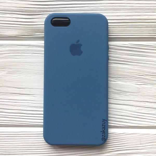 Оригинальный силиконовый чехол (Silicone case) для Iphone 5 / 5s / SE (Azure) №36