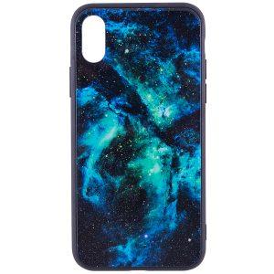 TPU+Glass чехол Космос для Apple iPhone X (5.8″) Green