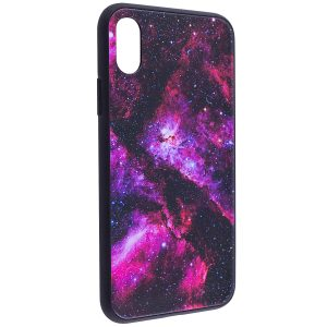 TPU+Glass чехол Космос для Apple iPhone X (5.8″) Pink
