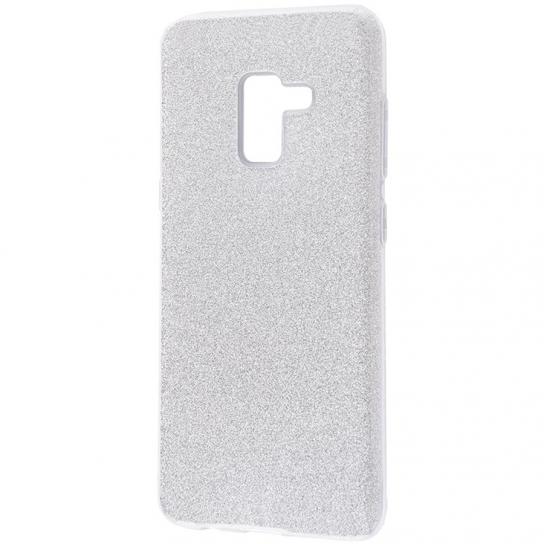Силиконовый (TPU) чехол – бампер с блестками Shine для Samsung J600F Galaxy J6 (2018) Silver