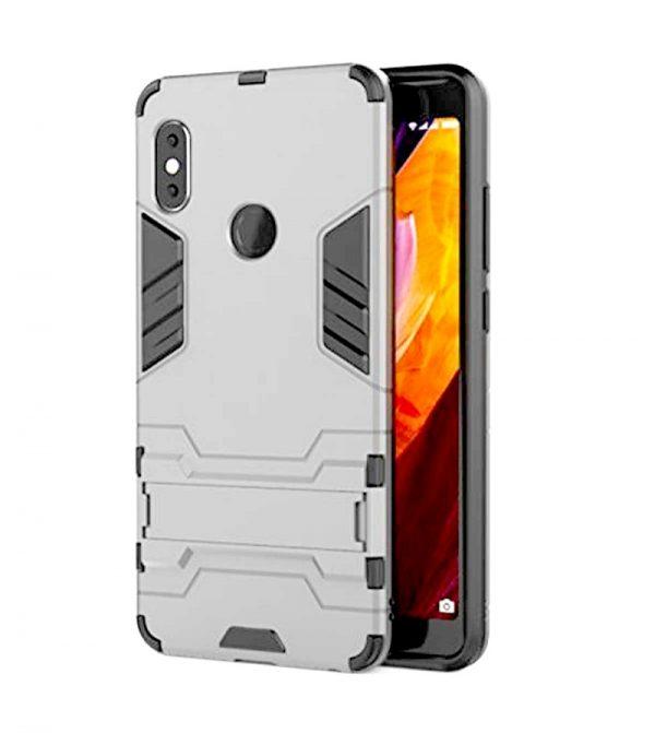Серебряный противоударный (ударопрочный) чехол (бампер) Transformer с подставкой для Xiaomi Mi 8 SE (Silver)