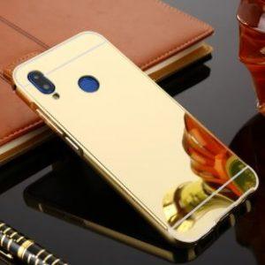 Металлический бампер с акриловой вставкой с зеркальным покрытием для Huawei P20 Lite (Gold)