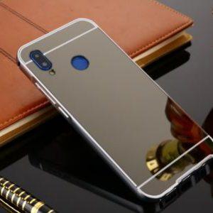 Металлический бампер с акриловой вставкой с зеркальным покрытием для Huawei P20 Lite (Grey)